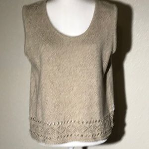 Wool Sleeveless Top With Detailed Border